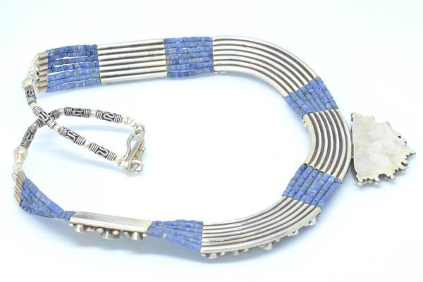 Collar Silver 925, Vintage Look with Blue Lapis 6